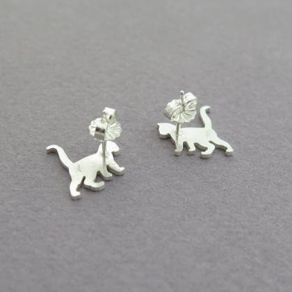Sterling Silver Cat Stud Earrings -..