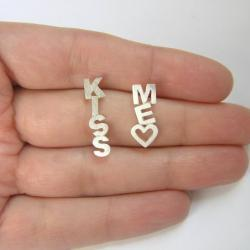 Kiss Me Earrings - Sterling Silver Letters Earrings - Stud earrings